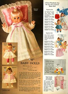 1971-Sears Christmas Catalog by Wishbook.  The baby with the pink pillow is one of my oldest dolls.