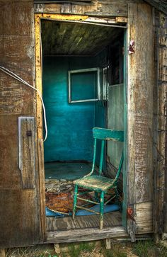 A blue chair. The Utah Ghost town of Cisco, Utah. By photographer Michelle Pilling. See more of her work at www.flickr.com/photos/gopher21479/