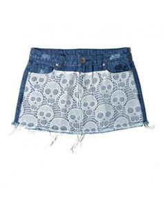 Blue Mini Denim Skirt with Lace Skull Print and Raw Edge