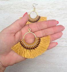 Gold Tassel Hoop Earrings Large Gold Tassel Hoops Boho