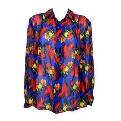 Preowned Versace Silk Shirt - 1997 (3.865 DKK) ❤ liked on Polyvore featuring tops, blouses, purple, purple shirt, purple silk shirt, sexy blouses, purple silk blouse and shirt blouse