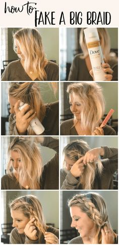 Steps to fake a big dutch braid for girls with thin hair