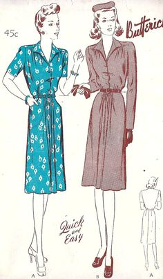 1940s Misses Casual Dress