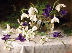 Eva Francis (British 1887-1924) «Snowdrops and Violets» 1903