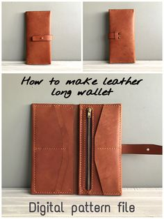 Leather Purse Diy, Leather Kits, Handmade Leather Wallet, Womens Leather Wallet, Wallet Sewing Pattern, Leather Wallet Pattern, Leather Bifold Wallet, Diy Leather Projects, Leather Diy Crafts