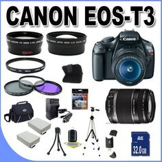 Canon EOS Rebel T3 12.2 MP CMOS Digital SLR with Canon 18-55mm IS II Lens and Canon 55-250 IS Lens (Black) +58mm 2x Telephoto lens + 58mm Wide Angle Lens (4 Lens Kit!!!) W/32GB SDHC Memory +2 Extra Batteries+AC/DC Charger +UV Filters+3 Piece Filter Kit+Case+Full Size Tripod+Accessory Kit !! by BVI. $659.95