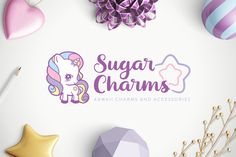 kawaii cute unicorn rainbow pastel logo