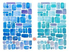 WATERCOLOR MOSAIC - 2 hand painted watercolor papers for instant download, watercolor sheets, photo overlays, background by ankugraphics on Etsy