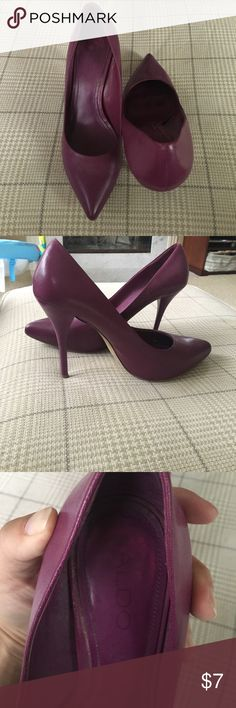 """Also size 38/8 shoes. Very worn but in great shape Also size 38/8 shoes. Very worn but in great shape. 3"""" heel comfortable but with high arch! Aldo Shoes Heels"""