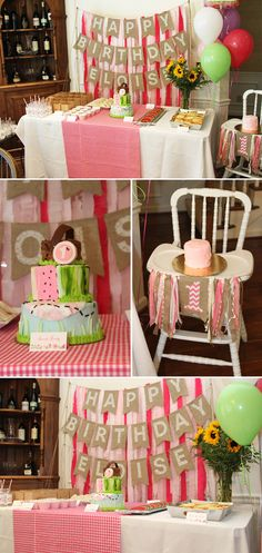 Eloise's pink picnic themed first birthday party with a DIY crepe paper streamer backdrop! Tutorial coming up in the next couple weeks!
