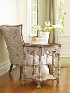 Product Name- Round Accent Table by Hooker Furniture  Pursue serenity at home…Create your own personal sanctuary, a special place where you can experience…comfort within.  Available exclusively at Space Design Collective in India.  www.spacedesigncollective.com