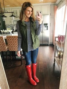 Rainy Day Outfit // Striped Shirt + Jeggings + Military Vest + Hunter Boots #shopthelook #springfashion #springoutfit #rainydayoutfit #rainboots #hunterboots #militaryvest #jeggings Red Hunter Boots, Red Rain Boots, Hunter Boots Outfit, Duck Boots, Cowgirl Boots, Western Boots, Snow Boots, Riding Boots, Jeggings