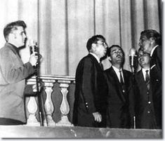 """Elvis with with the Statesmen Quartet, Memphis  October, 1956  - - - -  """"Since I was two years old, all I knew was gospel music. That music became such a part of my life it was as natural as dancing. A way to escape from the problems. And my way of release."""" Elvis Aaron Presley"""