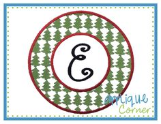 Christmas Tree Filled Circle Border Embroidery Design