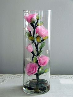 Handmade small Roses Arrangement in the Glass
