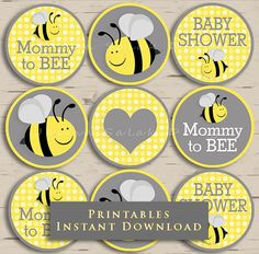 Mommy To Bee Baby Shower Cupcake Toppers By JannaSalakDesigns