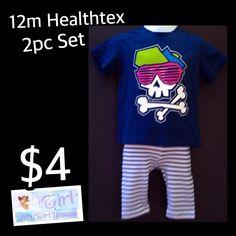 12m Baby Girl Cute Pink Skull & Striped Capri 2pc Healthtex Set
