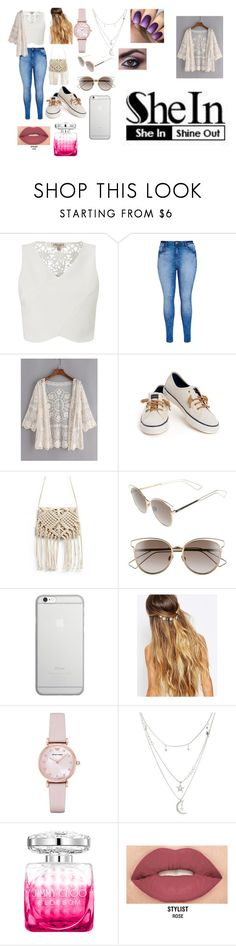 """""""SHEIN CONTEST-Lace Cardigan"""" by sakeenah1 ❤ liked on Polyvore featuring Lipsy, City Chic, Sperry, Christian Dior, Native Union, Johnny Loves Rosie, Emporio Armani, Charlotte Russe, Jimmy Choo and Smashbox"""