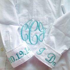 monogrammed bride button down shirt   via 10 NEW Something Blue Ideas   http://emmalinebride.com/bride/new-something-blue/
