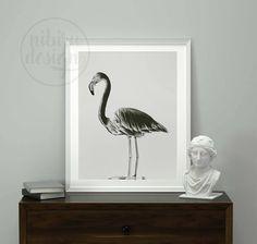 FLAMINGO   Flamingo Wall Art Print, Printable Wall Art, Black and White, Animal Print, Flamingo Decor, Photography Wall Decor, Download by NibiruDesign on Etsy