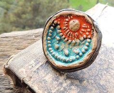 rustic sun moon turquoise orange rustic ring Statement by MARIAELA, $39.00