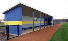 """Our precast concrete dugouts are an economical way to give your team the """"home field"""" advantage. Baseball Dugout, Baseball Field, Basketball Court Layout, Basketball Birthday Parties, Precast Concrete, Vikings, Building, Outdoor Decor, Softball"""