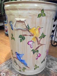 Decorative Hand Painted 20 Gallon Galvanized Metal Trash/Garbage/Storage  Can w/Side Handles and Tight Fit Lid Love to keep bird seed in this!