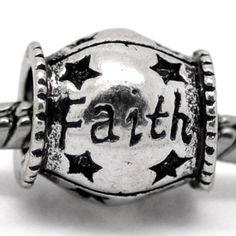 "BESTSELLER! "" Faith ""Antique`d Silver Charm Barrel Bead Pandora Troll Chamilia Compatible $4.75"