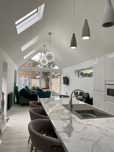 A residential extension to create an open plan kitchen/dining/living space within skeiling. Open Plan Kitchen Dining, Kitchen Dining Living, Extensions, Living Spaces, Conference Room, Contemporary, Create, Table, Furniture