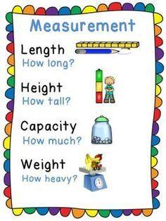 Measurement Anchor Chart for Kindergarten - Anchor Charts 2020 Measurement Kindergarten, Kindergarten Anchor Charts, Measurement Activities, Math Measurement, Kindergarten Math Activities, Homeschool Math, Teaching Math, Capacity Activities, Homeschooling