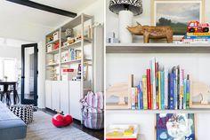 Suzannes Child Playroom Makeover Emily Henderson Styling Kids Shelf Organization