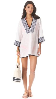 Tory Burch Pearl Tunic Cover Up - black and white tunic