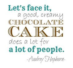Audrey Hepburn Chocolate Cake Quote <3