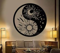 Vinyl Wall Decal Yin Yang Symbol Sun Moon Buddhism Stars Day Night Stickers Unique Gift - new site Yin Yang Tattoos, Yin Yang Tattoo Meaning, Yen Yang, Yin Yang Art, Yin And Yang, Ying Et Yang, Yin Yang Designs, Deco Zen, Wall Drawing