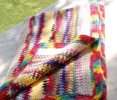 Colorburst Crocheted Blanket by OneCreativeFamily on Etsy