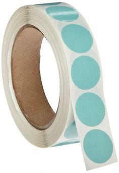 """Roll Products 119-0004 Adhesive Dot Label, 1"""" Diameter, For Inventory And Marking, Aqua (Roll Of 1000), 2015 Amazon Top Rated Adhesive Dots #BISS"""
