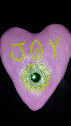 """""""JOY"""" heart, made of clay."""