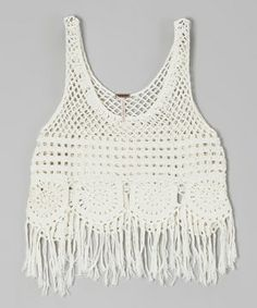 Loving this Poof! Ivory Fringe Crocheted Tank on #zulily! #zulilyfinds