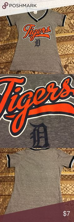MLB Detroit Tigers t-shirt Small In great condition. Fitted small, Grey with velvet orange lettering. Jersey border material on neck and sleeves. Cute too small for me. Only worn a few times Detroit Tigers  Tops Tees - Short Sleeve