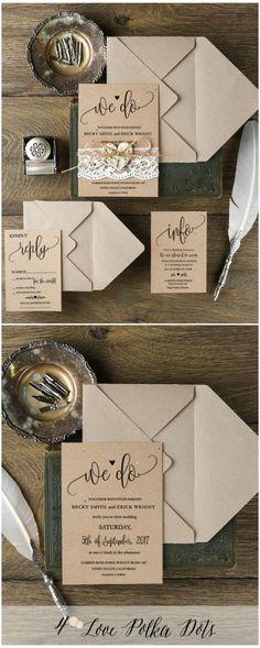 We Do ! <3 Calligraphy Boho lace wedding invitations - simple & beautiful #weddingideas #boho #bohemian #eco #lace #calligraphy #wedding