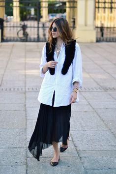 great skirt & white shirt. stolen moments with #MajaWyh. Copenhagen.