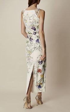 Karen Millen DA288 MAXI FLORAL PENCIL DRESS in Multicolour