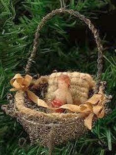 Sebnitz Christmas Ornament With Wax Baby. Antique Christmas Ornaments, Vintage Christmas Images, Old Christmas, Victorian Christmas, Vintage Ornaments, Vintage Holiday, Christmas Tree Ornaments, Christmas Holidays, Christmas Crafts