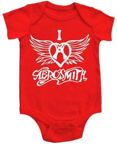 Great for boys or girls, this officially licensed Aerosmith baby one piece snap-suit in red features the Aerosmith wings logo in the shape of a heart. Aerosmith