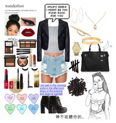 """I Do What I Want I'm Punk Rock"" by whitecrystxl ❤ liked on Polyvore featuring Glamorous, Balenciaga, Charlotte Russe, Michael Kors, Lancôme and LORAC"