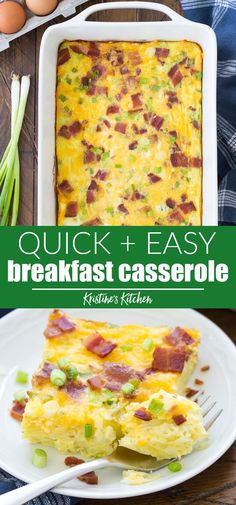 easy breakfast casserole recipe with hashbrowns and bacon. Make ahead for an overnight egg casserole. Try sausage or ham instead of the bacon, use shredded hash browns or diced potatoes, and add your favorite kind of cheese! Overnight Egg Casserole, Ham And Egg Casserole, Easy Breakfast Casserole Recipes, Brunch Recipes, Hashbrown Breakfast Casserole Bacon, Egg Bake With Hashbrowns, Egg Casserole Healthy, Breakfast Casseroles With Hashbrowns, Overnight Egg Bake