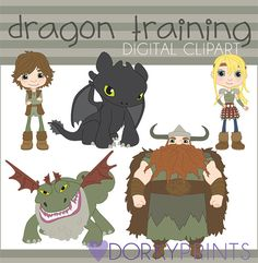 How to Train Your Dragon Digital Clip Art Set by DorkyPrints, $3.50 .  So cute for me ( I mean my daughter) !!!