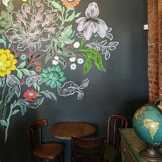 Pin By Laurie Champeau On Coffee In 2019 Chalk Wall, Blackboard Chalkboard Art With Color Palettes. Flower Vector Seamless Floral Pattern Stock Illustration Of Blossom, Leaf: 35647533 Chalkboard Wallpaper, Chalkboard Wall Bedroom, Blackboard Wall, Chalk Wall, Chalkboard Art, Bedroom Wall, Kitchen Chalkboard, Bedroom Ideas, Chalk Board Wall Ideas