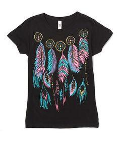 Look what I found on #zulily! Black Feather Tee - Girls #zulilyfinds