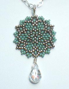 Beadwoven Single Mandala Necklace / Clear Cubic Zirconia Briolette / Sterling Silver Chain - - - Clarissa.